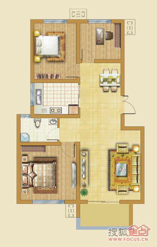 领世新城户型图 多层住宅3户型