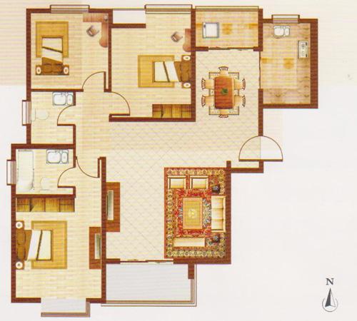 120.6平米三室两厅两卫户型