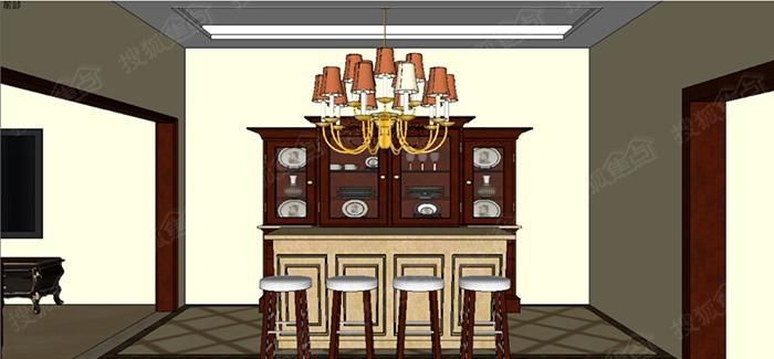 ▲水吧台设计效果图-简欧风格案例赏析高清图片