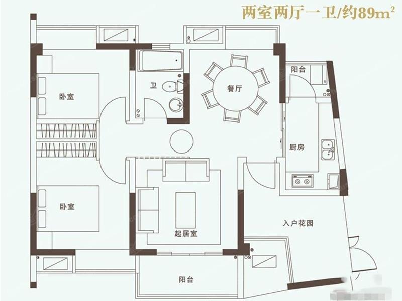 誉珑湖滨89平两室两厅一卫户型图