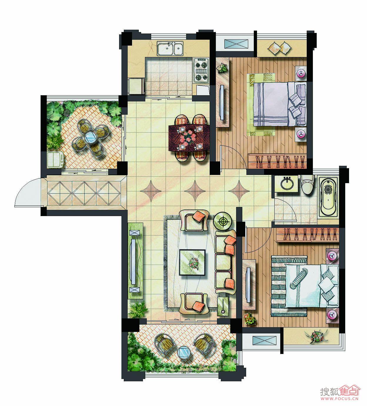 图片: 保利香槟国际93平两室两厅一卫户型