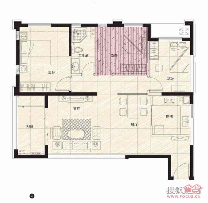 阳光100国际新城106.00平3室2厅1卫1厨户型图