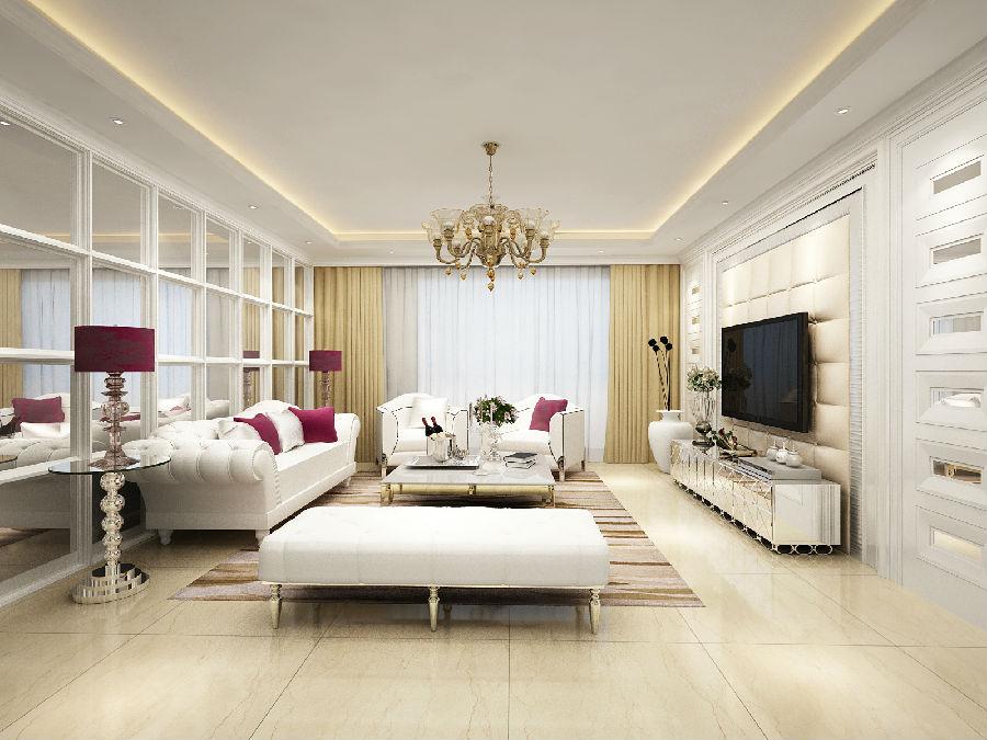 电视背景墙硬包在颜色上与窗帘沙发的呼应统一,加上经典欧式风格吊灯图片