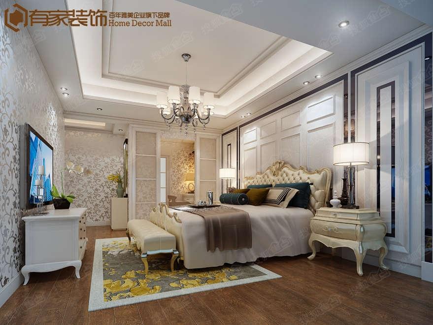 主卧香槟色床铺,棕色橡木地板,现代风格黑镜与背景欧式线条造型,欧式