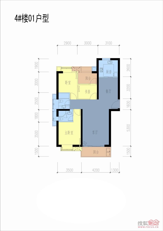 联发杏林湾1号花园二期(a1地块)4#,5#,地下室4#楼13层01单元户型户型