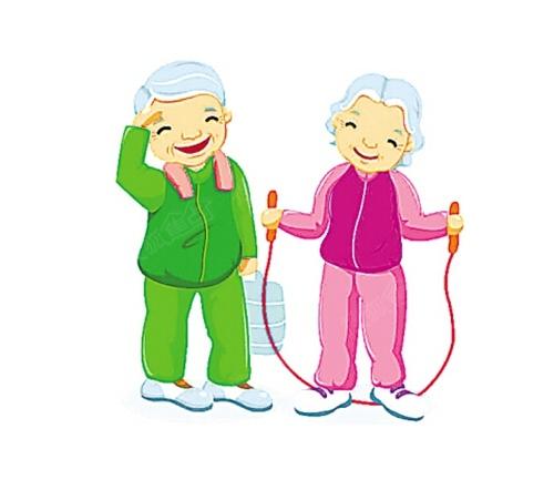 老人:生命在于运动, 适当运动 健身强体魄!
