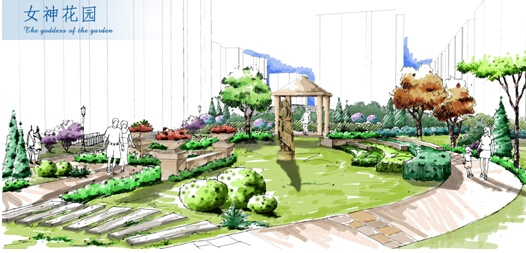园林手绘图带圆形廊架的