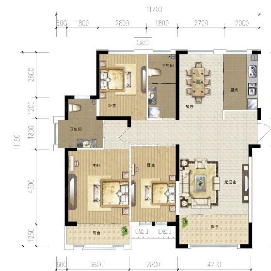 富丽紫玉花园-c-三室两厅一卫-111.00㎡