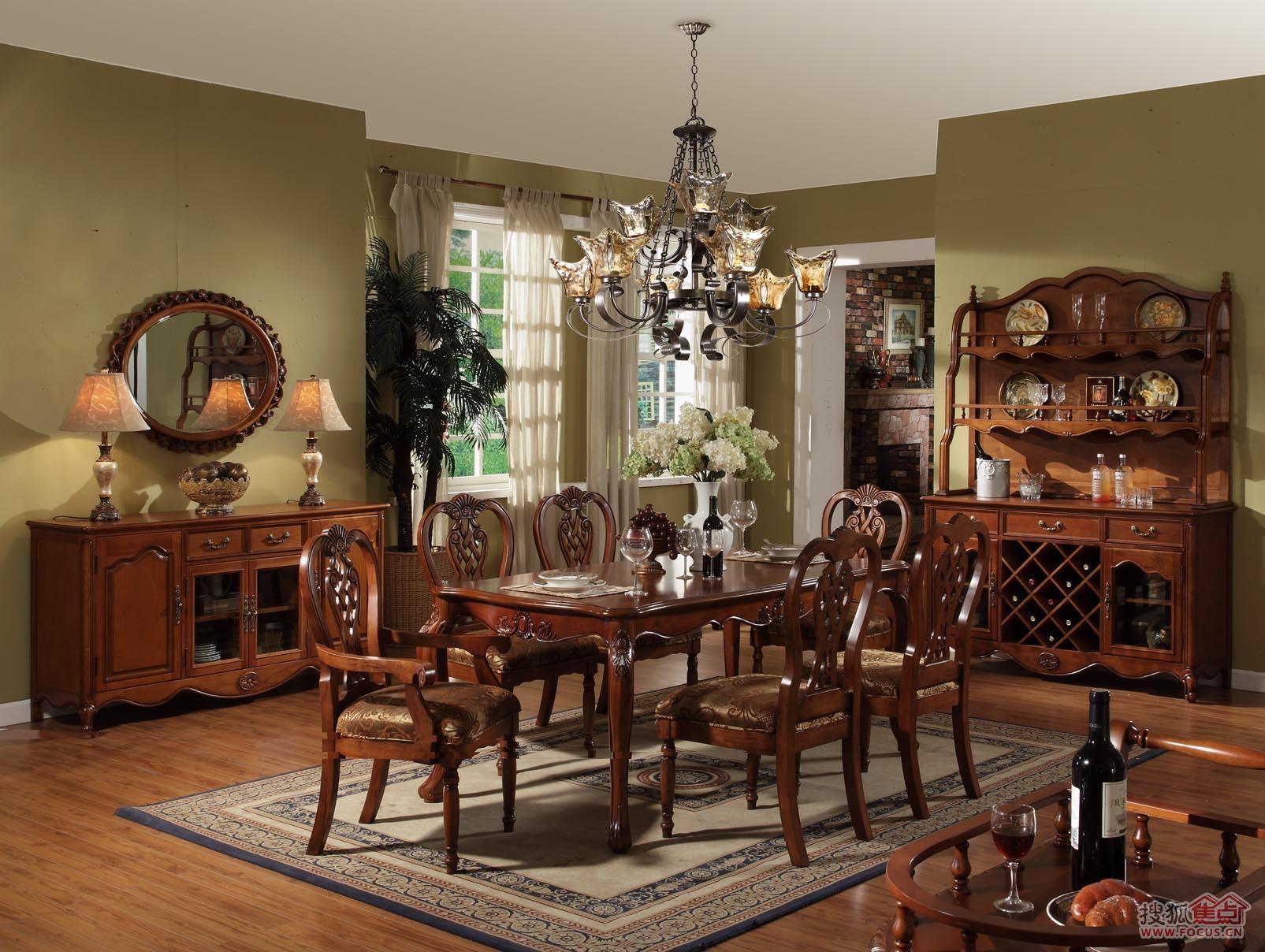 美式餐厅一桌六椅图片