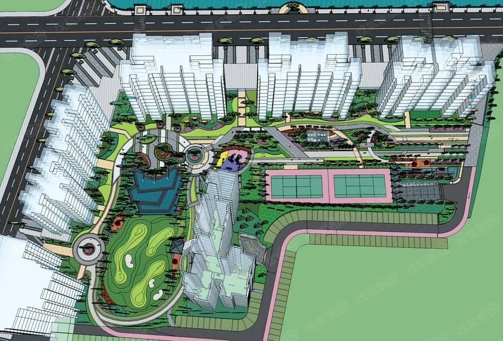 湖星园林华庭3期水岸规划设计鸟瞰图男装装修设计图纸图片