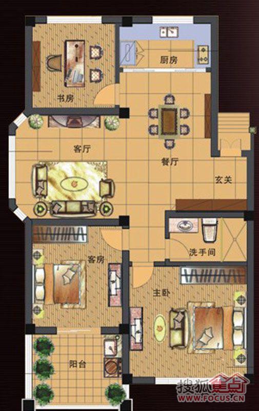 海景花园108.86㎡三室二厅一卫一厨多层户型图