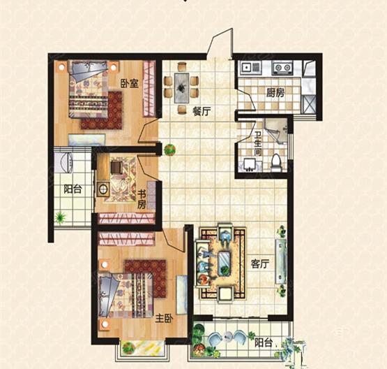 上东城103平三室两厅现代简约风格装修效果图高清图片